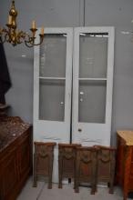 Glass panelled painted French doors, approx 213cm H x 52cm W  (2)