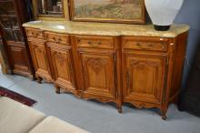 Vintage French cherrywood marble topped enfilade, approx 107cm H x 240cm W x 60m D