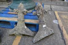 Pair of antique French carved stone Gothic  roof finials, approx 55 cm H (2)