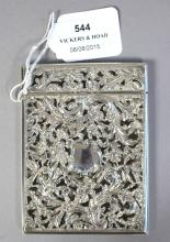 Nathaniel Mills Sterling silver hand pierced floral card case William IV 1837, approx 10cm x 7cm