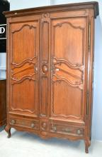 Antique 19th century French oak and cherry wood two door armoire, approx 227 cm H x 150 cm W