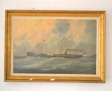 Fine Antique French school, oil on canvas of a single stack steamer of