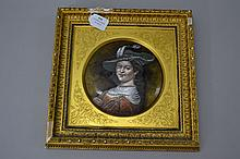 Pierre Bonnaud (1865-1930) antique 19th century oval enamel copper plate portrait of an early 16th century lady, mounted in Original frame by Doig Mc Kechnie & Davies Fine Art Salon Edinburgh, approx 32cm H x 28.5cm W (including frame)