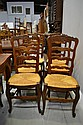 Six French ladder back chairs (6)