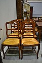 Set of six Louis XV rush seated chairs
