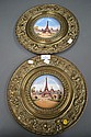 Two Antique French pressed copper plates with