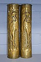 Pair of WWI brass trench art vases decorated with