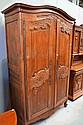Antique French Louis XV walnut & beech two door