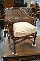 Good vintage coachwood bergere arm chair, barley