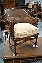 Good vintage coachwood bergere arm chair, barley