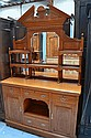 Antique late Victorian honey oak mirrored