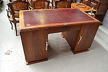 French Art Deco two pedestal desk, with inset