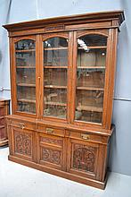 Antique English oak three door library bookcase,