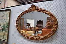 Vintage Oval gilt mirror, approx 66cm H x 85cm W