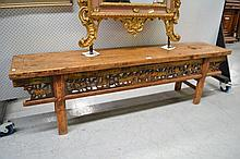 Old Chinese long low table, approx 54cm H x 184cm