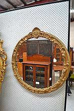 Vintage Circular gilt mirror, approx 71cm Dia