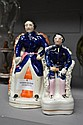 Two antique Staffordshire flat back figures of