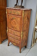 French Louis XV style floral parquetry mahogany