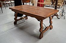Vintage Spanish oak parquetry drawer leaf table