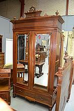 Antique French Henri II walnut two door armoire,