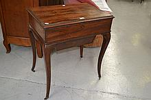 Antique French rosewood lift top work table with