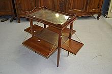 Vintage French walnut folding tray top tea table,