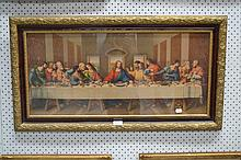 Colour engraving of Jesus and The twelve supper,