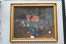 Oil Floral still life, signed lower left, Jean de