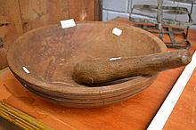 Antique 18th century French turned wood bowl with