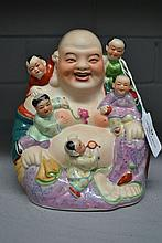 Chinese porcelain fat Buddha, polychrome enamel