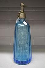 Vintage French blue glass siphon, 32cm high