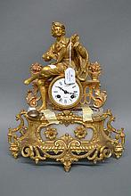 Antique French figural mantle clock with key &