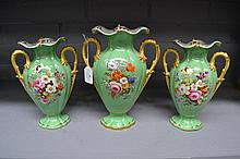 Antique garniture set of 1860s English porcelain