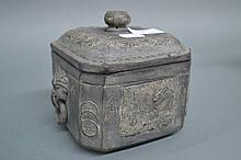 Chinese grey pottery lidded tea caddy, 13.5 cm