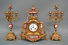 Antique French Rogue porcelain mantle clock