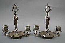 Pair of antique bronze figural candlesticks, with