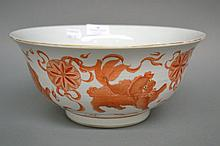 Chinese flared rim bowl, with iron red decoration