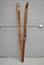 Pair of vintage skis, 213cm long