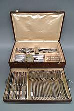 French canteen of cutlery in a leather bound box,