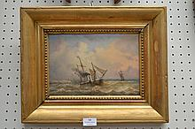 French school, steam ship, oil on panel, signed
