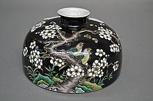 Fine Chinese squat porcelain Famille Noir brush