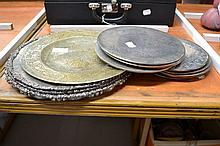 Selection - silver plate plates, plate stands and