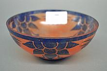 Rare Art Deco Schneider cameo glass bowl in blue &