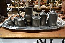 Set of six antique French graduating pewter lidded