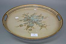 Antique French tole twin handled circular tray