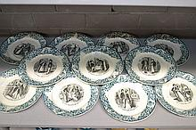 Selection of antique French plates of various