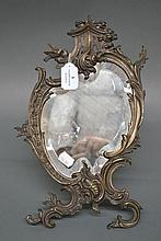 Antique French bronze boudoir mirror. Approx 29cm