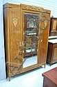 Parquetry armoire French inlaid walnut three door