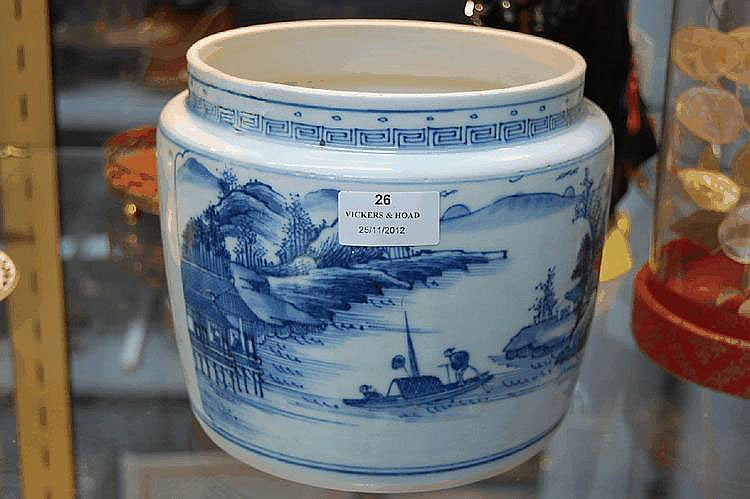 Antique Chinese blue & White pot, pierced holes