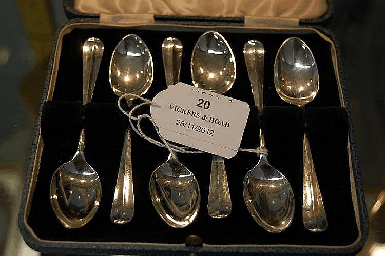 Cased set of six Sterling Silver coffee spoons,